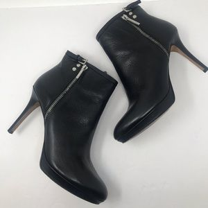 Donald J Pliner Elina Black Leather Ankle Bootie